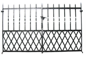 A Set of Reclaimed Wrought Iron Gates 216 cm (7'2″)