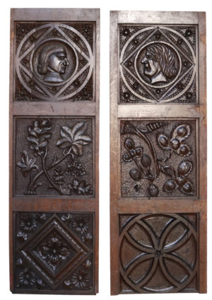 Two Antique Carved Oak Wall Panels