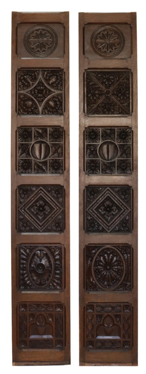 A Reclaimed Pair of English Carved Oak Wall Panels