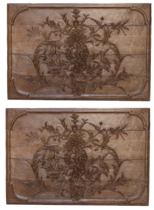 A Pair of Antique Carved Oak Wall Panels