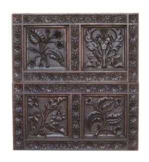 Two Antique Carved Oak Panels