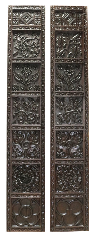 Two English Reclaimed Carved Oak Panels