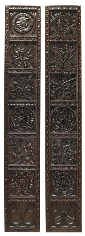 Two Reclaimed English Carved Oak Panels