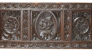 An Antique English Carved Oak Panel (2.92m wide)