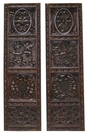 Two Antique English Carved Oak Wall Panels