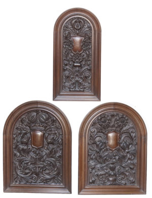 A Set of Three Antique Tudor Style Oak Panels