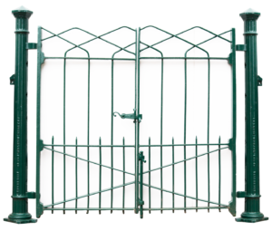 A Set of Reclaimed Wrought Iron Pedestrian Gates with Posts