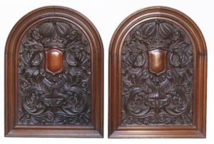 A Pair of Antique Tudor Style Carved Oak Wall Panels