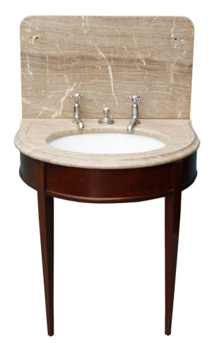 An Antique Shanks Marble Wash Basin with Mahogany Stand