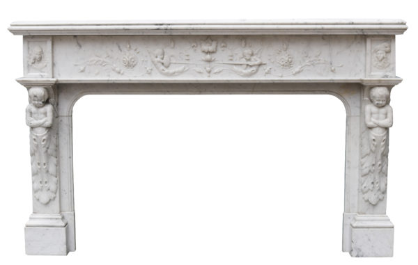 Antique French Renaissance Style Marble Fireplace