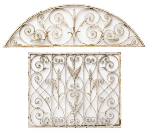 A Reclaimed Matching Wrought Iron Painted Grill and Fanlight