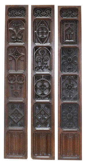 Three Reclaimed English Carved Oak Wall Panels