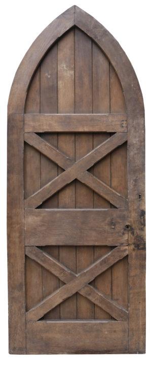 An Antique Gothic Style Arched Oak External Door