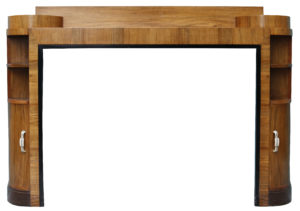 A Reclaimed Art Deco Style Walnut Fire Surround