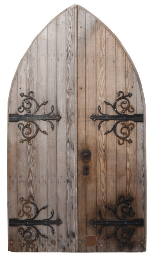 A Set of Antique Gothic Style Arched Church Doors