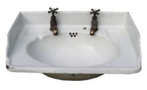 An Antique Vitreous Enamelled Cast Iron Wash Basin