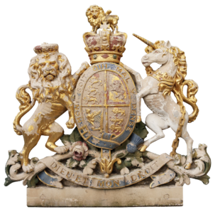 An Antique English Carved Bath Stone Crest or Coat of Arms
