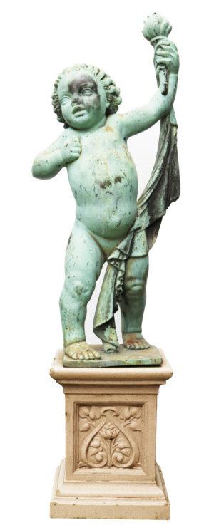 An Antique Bronze Garden Statue of a Putto
