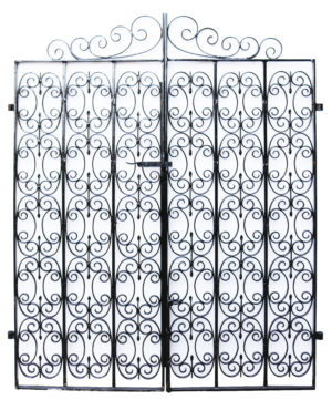 A Reclaimed Pair of Wrought Iron Garden Gates with Posts