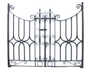 A Pair of Reclaimed Wrought Iron Gates with Posts