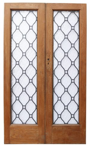 A Set of Reclaimed Oak Double Doors with Leaded Glass