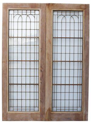 A Set of Reclaimed Art Deco Copper-Light Double Doors