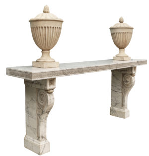 A Large Scale Antique Carrara Marble Console Table