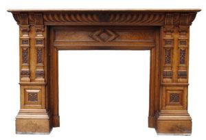 Large Antique Victorian Style Oak Fireplace