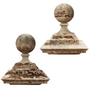Two Antique Stone Ball Pier Caps