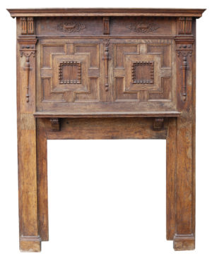 Jacobean Style Oak Fireplace with Overmantel