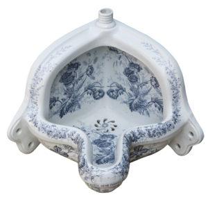 Antique Decorative Corner Urinal with Floral Pattern