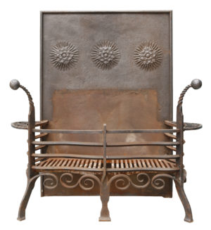 Victorian Arts and Crafts Style Wrought Iron Fire Grate