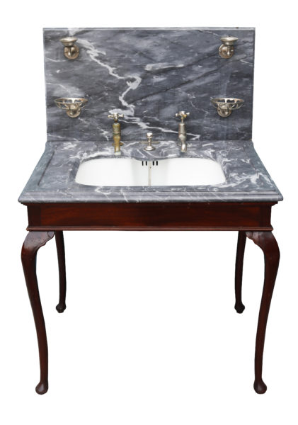 Shanks and Co Marble Basin with Mahogany Stand