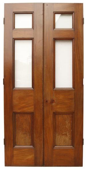 Pair of Glazed Mahogany Doors