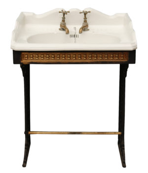 Antique Victorian Porcelain Basin with Cast Iron Stand