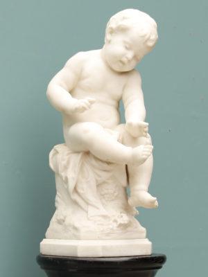 Auguste Moreau Marble Statue of Infant on Ebonised Hardwood Pedestal