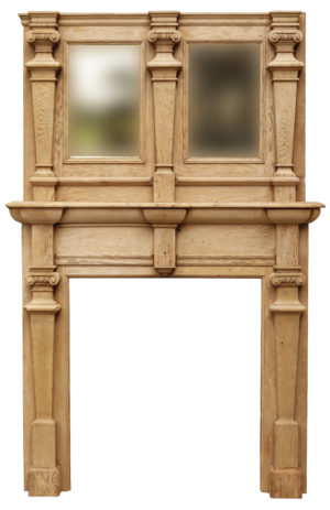 Jacobean Style Fireplace with Mirrored Overmantel