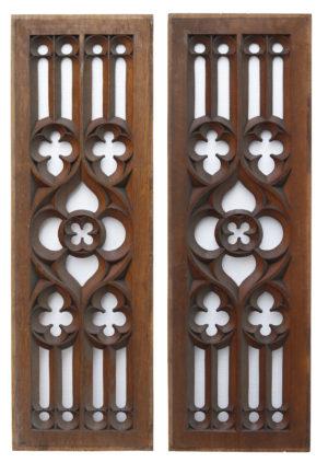 Two Rectangular Antique Carved Oak Panels