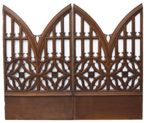 Pair of Arched Carved Oak Church Panels