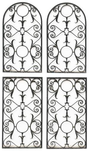 Set of Four Antique Wrought Iron Panels