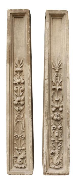 Pair of Antique Carved Limestone Pedestals