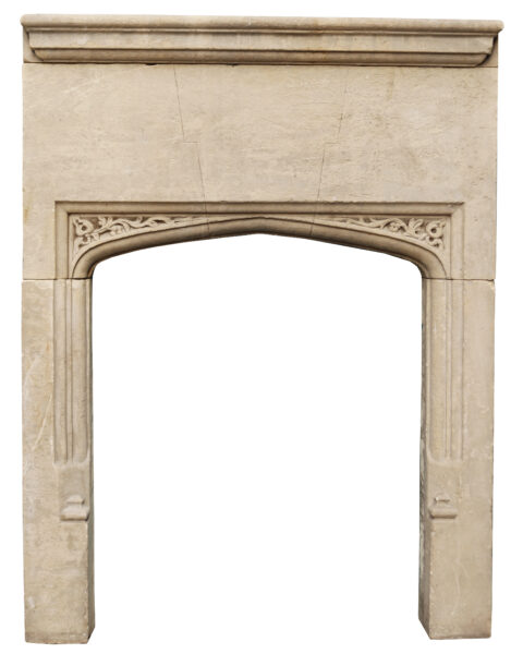 Antique Carved Limestone Fireplace