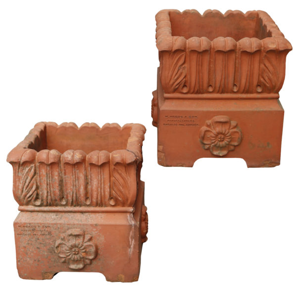 Two Antique W Meeds & Son Terracotta Planters